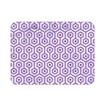 HEXAGON1 WHITE MARBLE & PURPLE DENIM (R) Double Sided Flano Blanket (Mini)  35 x27 Blanket Front