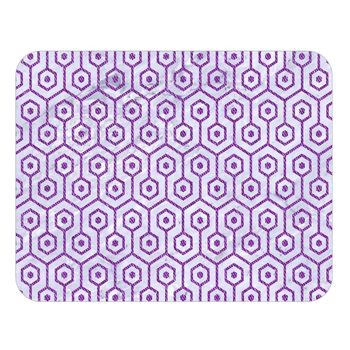 HEXAGON1 WHITE MARBLE & PURPLE DENIM (R) Double Sided Flano Blanket (Large)