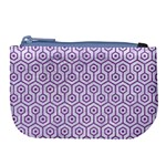 HEXAGON1 WHITE MARBLE & PURPLE DENIM (R) Large Coin Purse Front