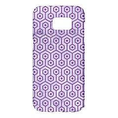 HEXAGON1 WHITE MARBLE & PURPLE DENIM (R) Samsung Galaxy S7 Edge Hardshell Case