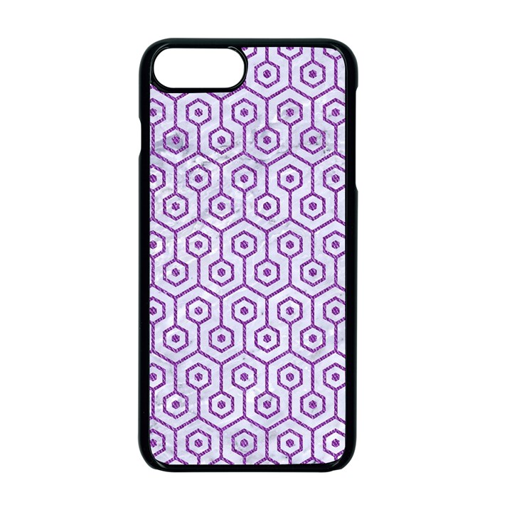 HEXAGON1 WHITE MARBLE & PURPLE DENIM (R) Apple iPhone 7 Plus Seamless Case (Black)