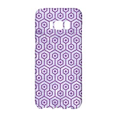 Hexagon1 White Marble & Purple Denim (r) Samsung Galaxy S8 Hardshell Case