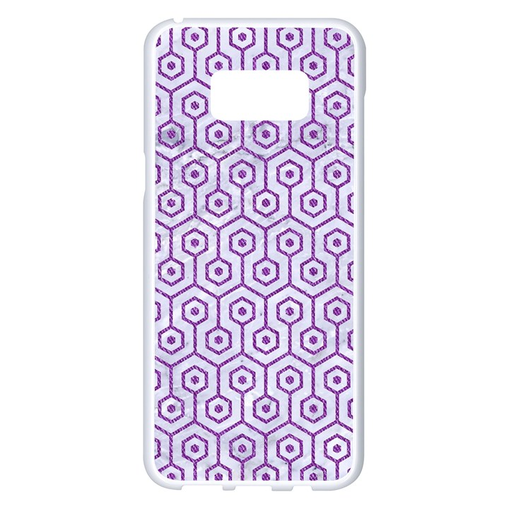 HEXAGON1 WHITE MARBLE & PURPLE DENIM (R) Samsung Galaxy S8 Plus White Seamless Case