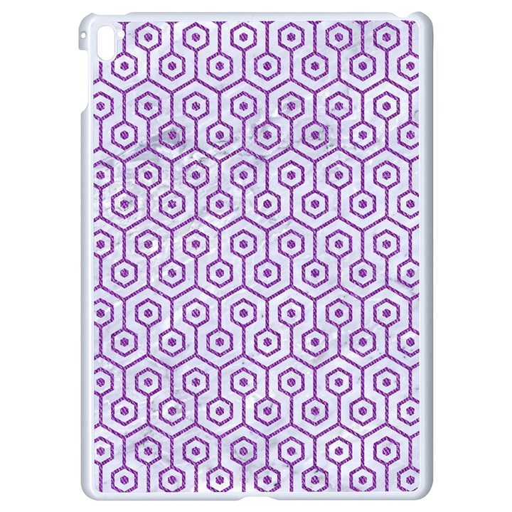 HEXAGON1 WHITE MARBLE & PURPLE DENIM (R) Apple iPad Pro 9.7   White Seamless Case