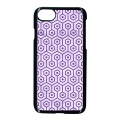 Hexagon1 White Marble & Purple Denim (r) Apple Iphone 8 Seamless Case (black)