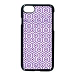 HEXAGON1 WHITE MARBLE & PURPLE DENIM (R) Apple iPhone 8 Seamless Case (Black) Front