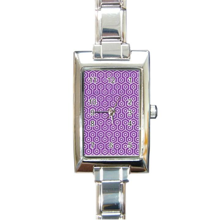 HEXAGON1 WHITE MARBLE & PURPLE DENIM Rectangle Italian Charm Watch