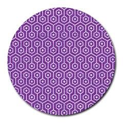 Hexagon1 White Marble & Purple Denim Round Mousepads