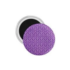 Hexagon1 White Marble & Purple Denim 1 75  Magnets