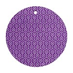 HEXAGON1 WHITE MARBLE & PURPLE DENIM Ornament (Round)