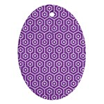HEXAGON1 WHITE MARBLE & PURPLE DENIM Ornament (Oval)