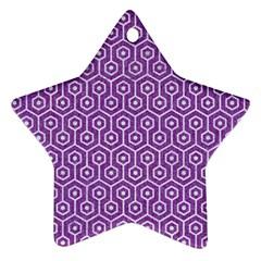 Hexagon1 White Marble & Purple Denim Ornament (star)
