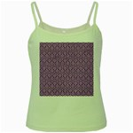 HEXAGON1 WHITE MARBLE & PURPLE DENIM Green Spaghetti Tank