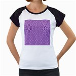 HEXAGON1 WHITE MARBLE & PURPLE DENIM Women s Cap Sleeve T