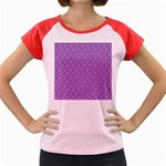 HEXAGON1 WHITE MARBLE & PURPLE DENIM Women s Cap Sleeve T-Shirt