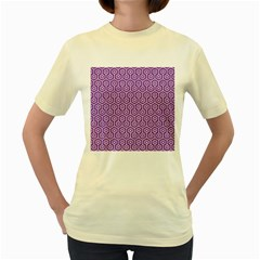 Hexagon1 White Marble & Purple Denim Women s Yellow T Shirt