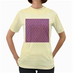 HEXAGON1 WHITE MARBLE & PURPLE DENIM Women s Yellow T-Shirt Front