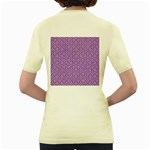 HEXAGON1 WHITE MARBLE & PURPLE DENIM Women s Yellow T-Shirt Back