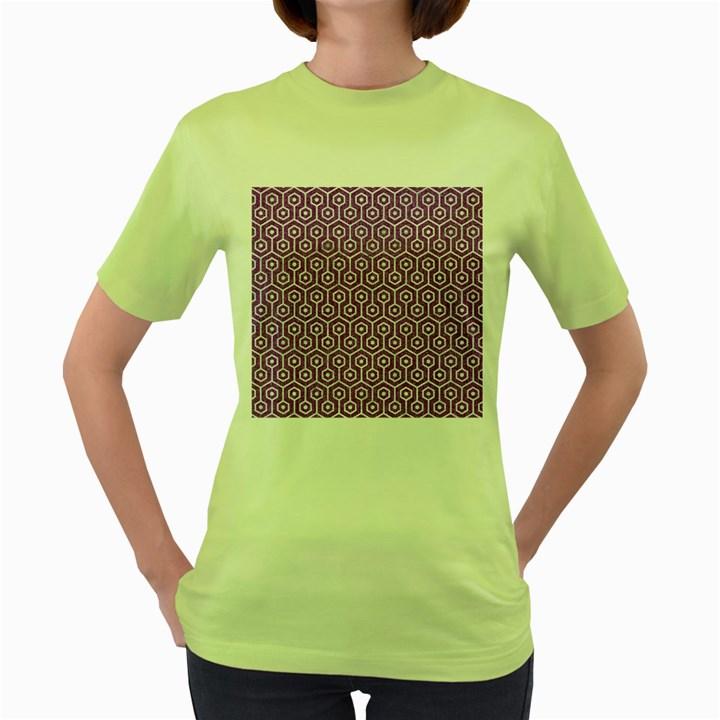 HEXAGON1 WHITE MARBLE & PURPLE DENIM Women s Green T-Shirt