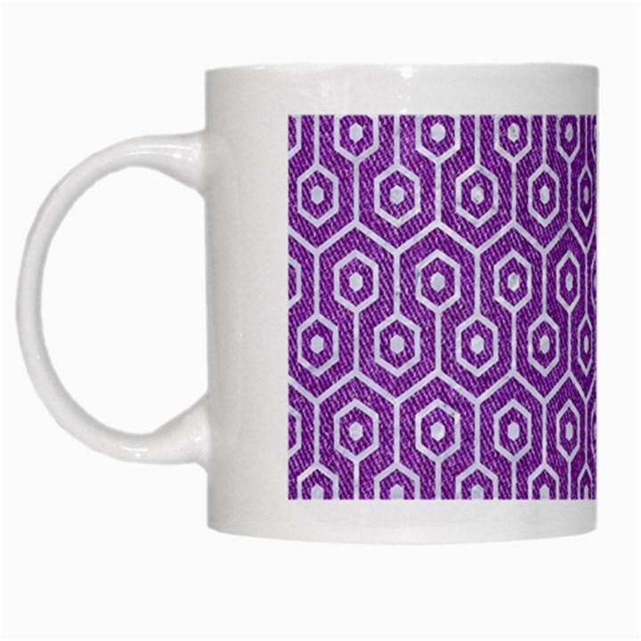 HEXAGON1 WHITE MARBLE & PURPLE DENIM White Mugs