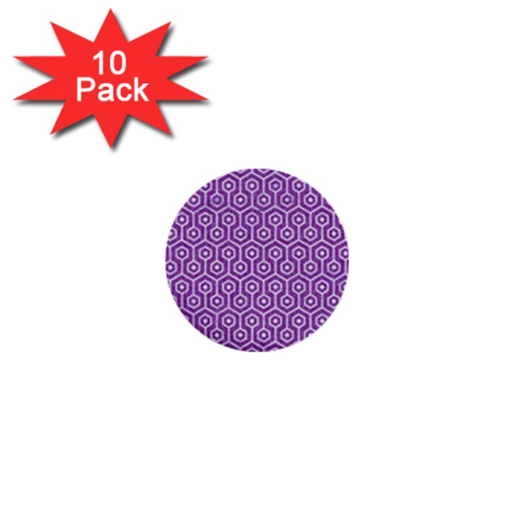 HEXAGON1 WHITE MARBLE & PURPLE DENIM 1  Mini Buttons (10 pack)