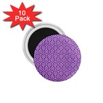 HEXAGON1 WHITE MARBLE & PURPLE DENIM 1.75  Magnets (10 pack)