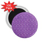 HEXAGON1 WHITE MARBLE & PURPLE DENIM 2.25  Magnets (100 pack)