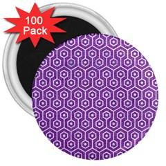 Hexagon1 White Marble & Purple Denim 3  Magnets (100 Pack)