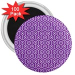 HEXAGON1 WHITE MARBLE & PURPLE DENIM 3  Magnets (100 pack)