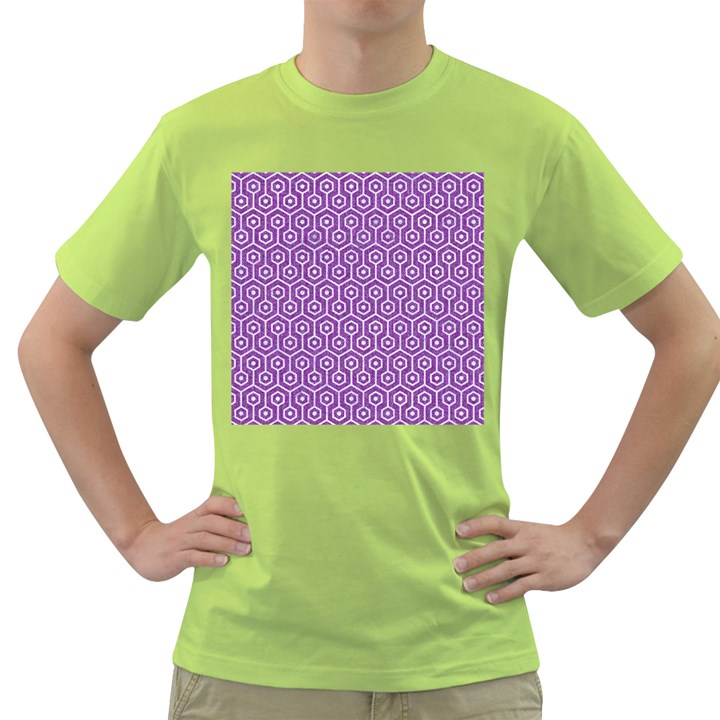 HEXAGON1 WHITE MARBLE & PURPLE DENIM Green T-Shirt
