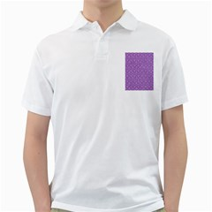Hexagon1 White Marble & Purple Denim Golf Shirts
