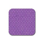 HEXAGON1 WHITE MARBLE & PURPLE DENIM Rubber Coaster (Square)