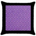 HEXAGON1 WHITE MARBLE & PURPLE DENIM Throw Pillow Case (Black) Front