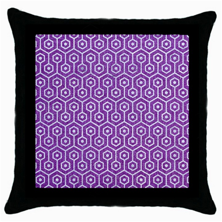 HEXAGON1 WHITE MARBLE & PURPLE DENIM Throw Pillow Case (Black)
