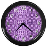 HEXAGON1 WHITE MARBLE & PURPLE DENIM Wall Clocks (Black) Front