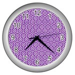 HEXAGON1 WHITE MARBLE & PURPLE DENIM Wall Clocks (Silver)