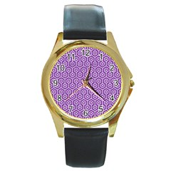 Hexagon1 White Marble & Purple Denim Round Gold Metal Watch