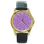 HEXAGON1 WHITE MARBLE & PURPLE DENIM Round Gold Metal Watch Front