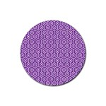 HEXAGON1 WHITE MARBLE & PURPLE DENIM Rubber Round Coaster (4 pack)