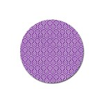 HEXAGON1 WHITE MARBLE & PURPLE DENIM Magnet 3  (Round)