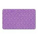 HEXAGON1 WHITE MARBLE & PURPLE DENIM Magnet (Rectangular)