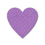 HEXAGON1 WHITE MARBLE & PURPLE DENIM Heart Magnet