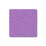 HEXAGON1 WHITE MARBLE & PURPLE DENIM Square Magnet