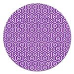 HEXAGON1 WHITE MARBLE & PURPLE DENIM Magnet 5  (Round)