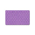 HEXAGON1 WHITE MARBLE & PURPLE DENIM Magnet (Name Card)