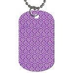 HEXAGON1 WHITE MARBLE & PURPLE DENIM Dog Tag (Two Sides)