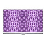 HEXAGON1 WHITE MARBLE & PURPLE DENIM Business Card Holders