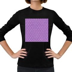 Hexagon1 White Marble & Purple Denim Women s Long Sleeve Dark T Shirts
