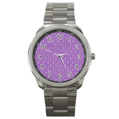 Hexagon1 White Marble & Purple Denim Sport Metal Watch by trendistuff
