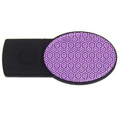 Hexagon1 White Marble & Purple Denim Usb Flash Drive Oval (4 Gb)